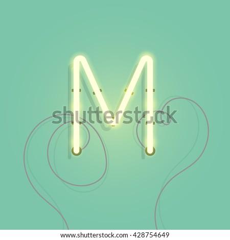 neon character m vector