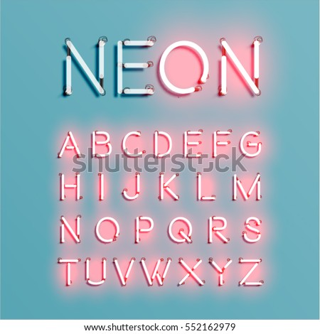 Neon character set shining, vector illustration