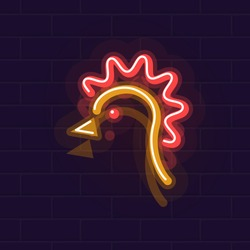 Neon chicken. Night illuminated wall street sign. Hot chicken meal in dark night. Isolated geometric style illustration on brick wall background.