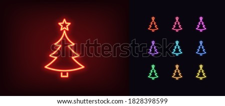 Neon Christmas tree with star, glowing icon. Neon New Year tree silhouette, outline Christmas tree in vivid colors. Festive fir with neon light. Icon set, sign, symbol for UI. Vector illustration