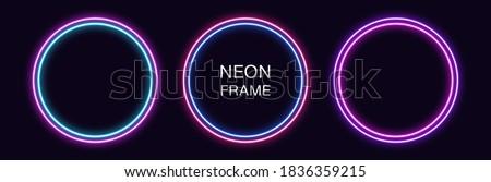 neon circle frame set of round