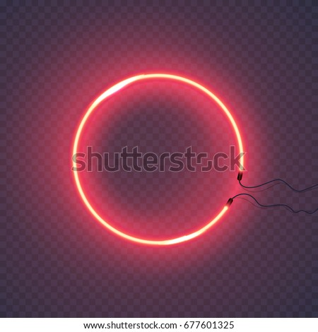 Neon circle lamp wall sign isolated on transparent background. Vector red power glowing circle bulb banner for your design.