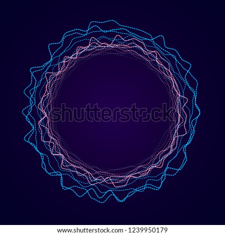 Neon circular shape of Soundwave form. Audio equalizer. Sound impulse visualization.
