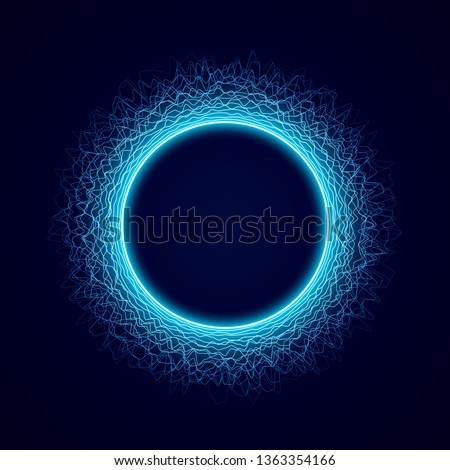 Neon circular shape of Soundwave form. Audio equalizer. Sound impulse visualization. Neon circle with dots light effect on black background. Vector illustration.