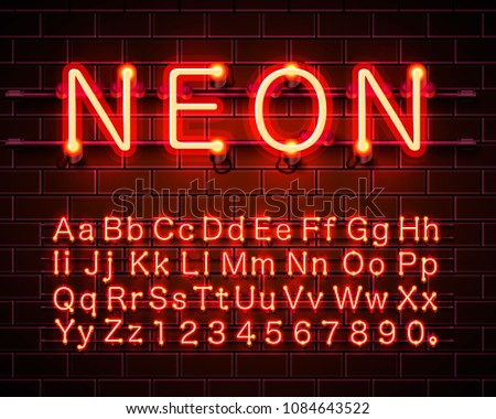 Neon city color red font. English alphabet and numbers sign. Vector illustration #1084643522