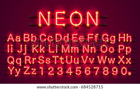 neon city color red font