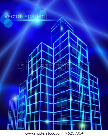 Neon city construction. Vector eps10.