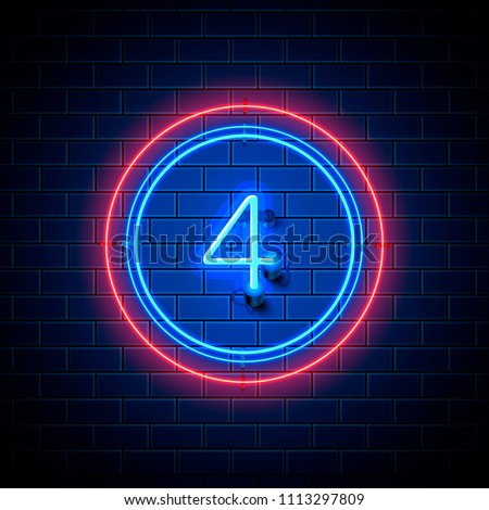 neon city font sign number 4
