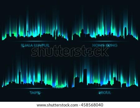 neon city skyline kuala lumpur
