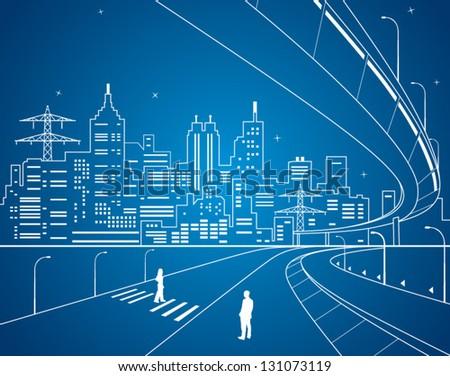 Neon city vector lines town city infrastructure