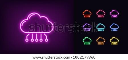 neon cloud hosting icon