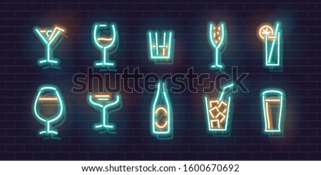 neon cocktails set fluorescent
