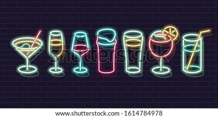 neon cocktails set fluorescent