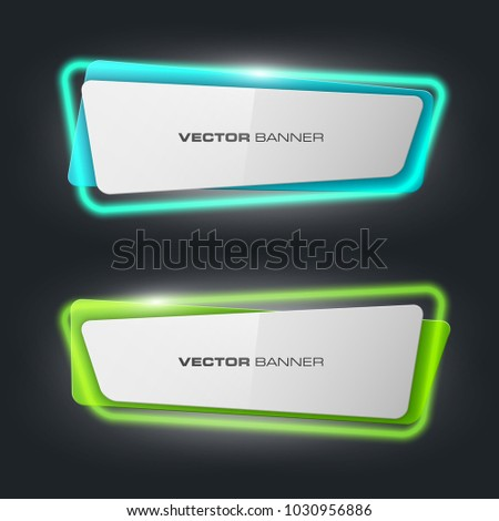 Neon colloquial. Speech bubble banner. Nameplate neon shape. Rectangle form advertising banner poster. Flat title banner image. Advertising neon shape. label ribbon tag. Straight arrow ribbon banner