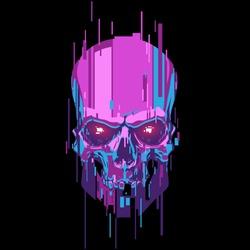 Neon color cyber skull illustration