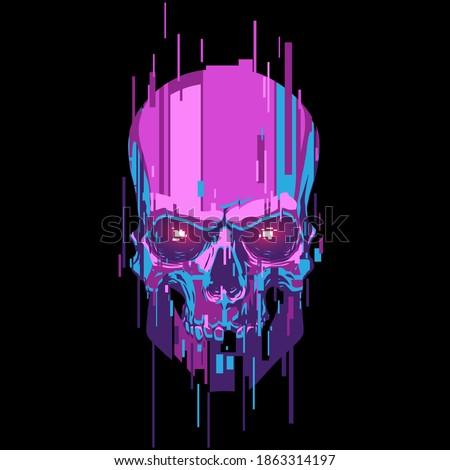 neon color cyber skull