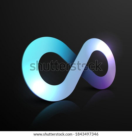 neon color infinity sign on
