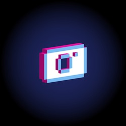 Neon colors isometric 3d photo camera. For illustration, advertising, game, print, web, poster, icon, pictogram, packaging.