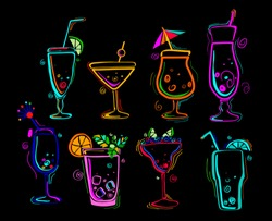 Neon colors on a black background Cocktail Party vector illustration