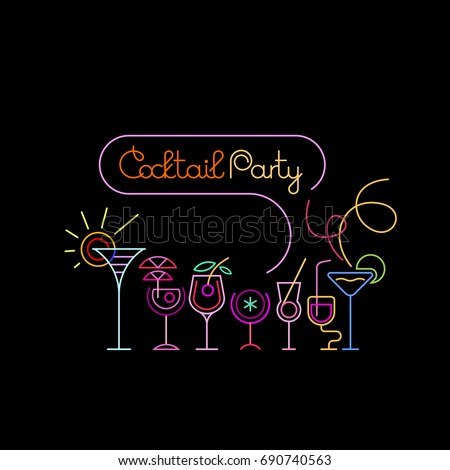 Shutterstock Neon colors on a black background Cocktail Party vector illustration. Various cocktail glasses and Cocktail Party text. Invitation vector poster design.