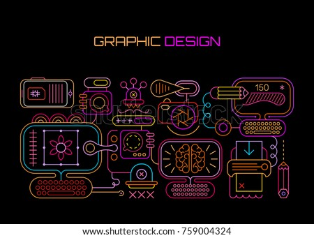 Neon colors on a black background Graphic Design vector illustration. Abstract style set with graphic designer equipment.