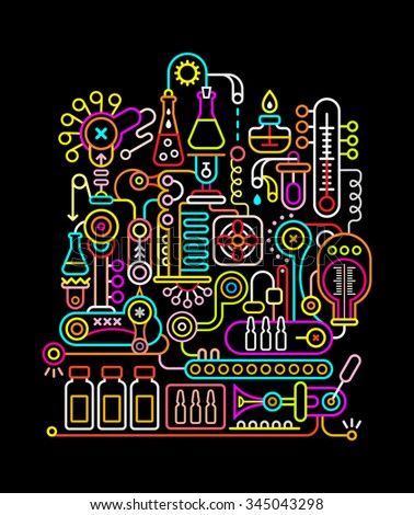 Neon colors on a black background modern research laboratory vector illustration.