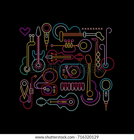 Neon colors on a black background Musical Instruments Design vector illustration.