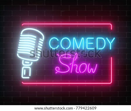 Neon comedy show sign with retro microphone on a brick wall background. Humor monolog glowing signboard. Vector illustration.