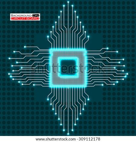 neon cpu circuit board vector