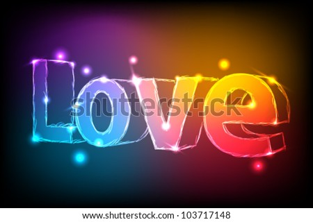 Neon 3d text on black background, vector illustration eps10, word love