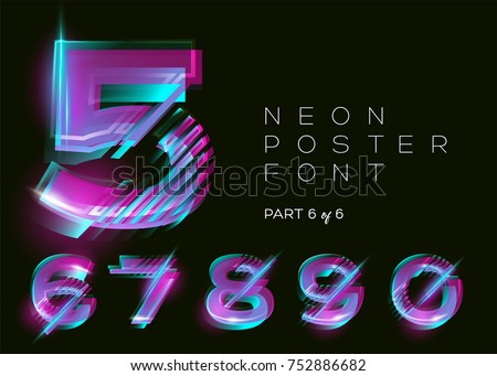 Neon 3D Typeset. Glowing Text Effect. Vibrant Bright Colors on Black Background. Modern Creative Typography for DJ Music Party, Fest, Sale Banner. Trendy Lettering for Decoration Design. Isolated.