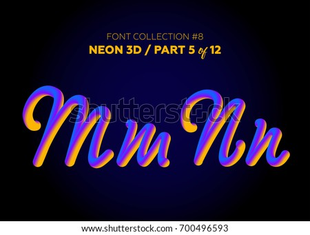 neon 3d typeset with rounded