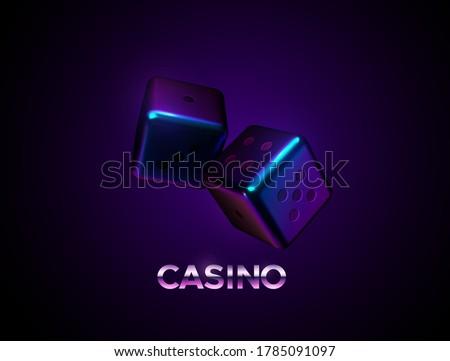 neon dices on dark background