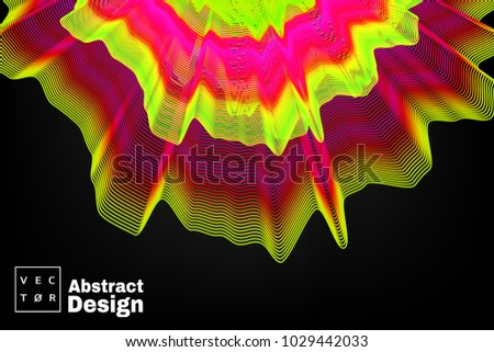 Neon electronic music fest and electro wave poster. Abstract gradients waves music background.