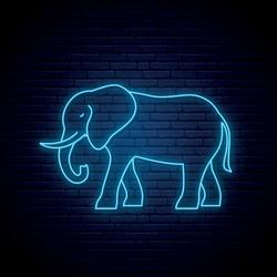 Neon elephant sign. Outline elephant icon. Wild animal emblem. Vector illustration.