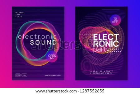 Neon flyer. Minimal discotheque magazine set. Dynamic gradient shape and line. Neon flyer trance event. Techno dj party. Electro dance music. Electronic sound. Club fest poster.