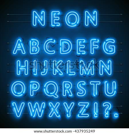 neon font city neon blue font