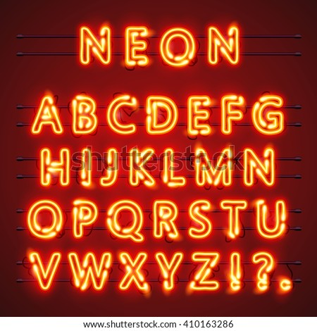 Neon font city text, Night Alphabet, Vector illustration