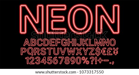 Neon font in red color. Vector collection of latin neon letters, neon alphabet consisting of outlines on the dark background #1073317550