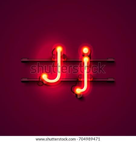 neon font letter j  art design