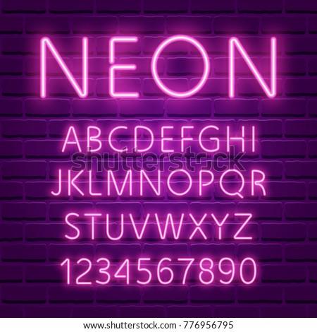 Neon font, 80s text letter glow light set. Ultra violet character abc. UV luminous effect high detailed alphabet for advertising. Retro techno acid style. Vector illustration