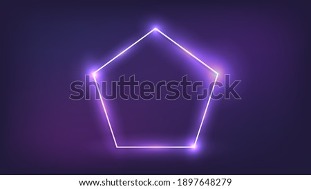 Neon frame in pentagon form with shining effects on dark background. Empty glowing techno backdrop. Vector illustration. ストックフォト ©