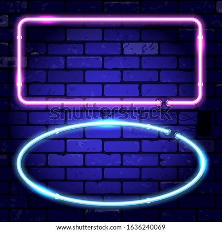 Neon frames signboards. Bright night signboard on brick wall sign. Vector illustration realistic neon icon