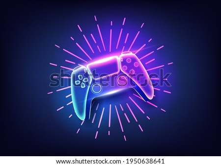 Neon game controller or joystick for game console.