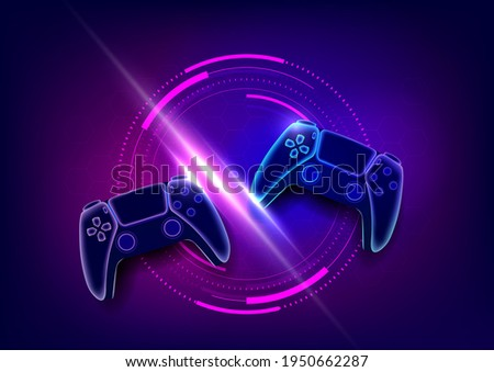 Neon game controllers or joysticks for game console. Foto stock ©