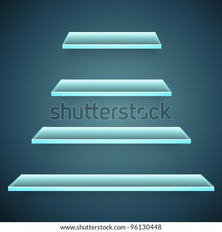 neon glass shelves