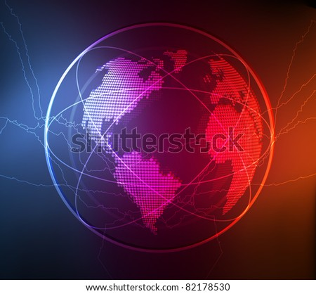 Neon globe vector background