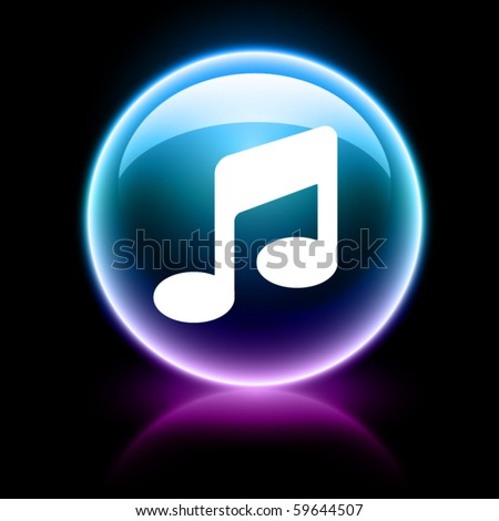 neon glossy web icon - music