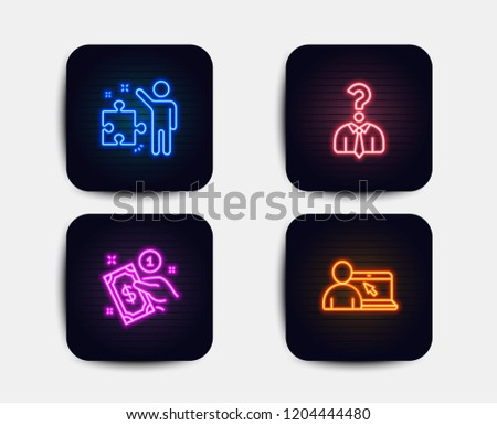 Neon glow lights. Set of Hiring employees, Payment method and Strategy icons. Online education sign. Human resources, Give money, Business plan. Internet lectures.  Neon icons. Glowing light banners