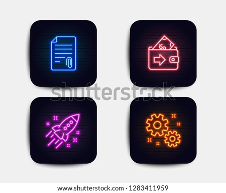 Neon glow lights. Set of Wallet, Startup rocket and Attachment icons. Work sign. Money payment, Business innovation, Attach file. Settings.  Neon icons. Glowing light banners. Vector